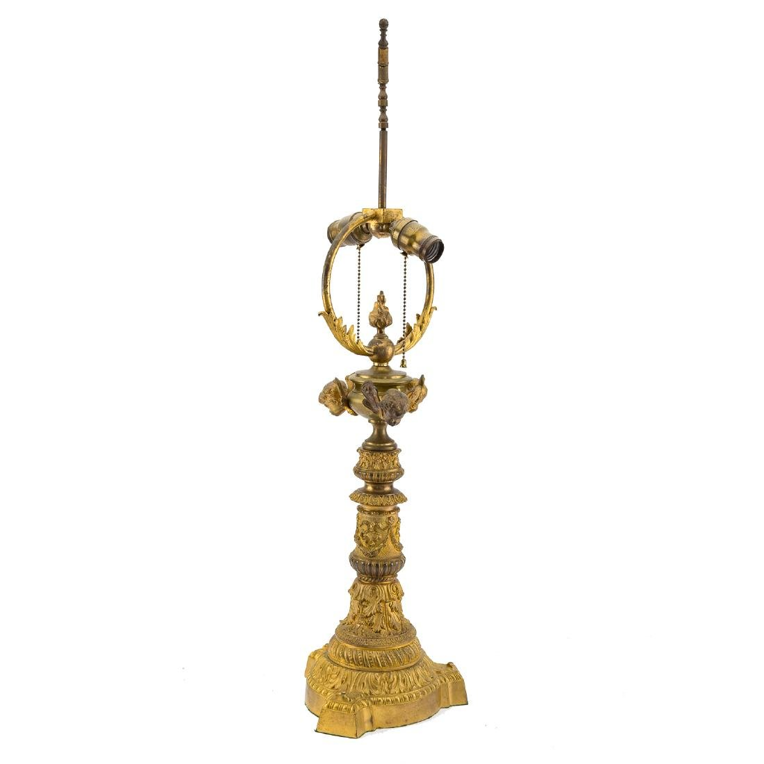 Continental Louis XVI style gilt bronze lamp