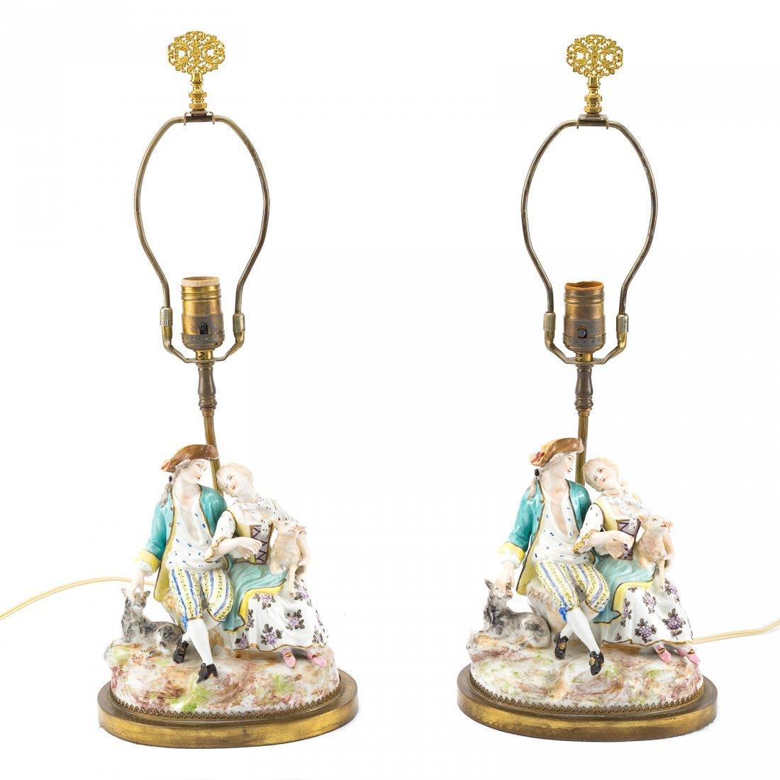 Pair Meissen style porcelain figural lamps - 2