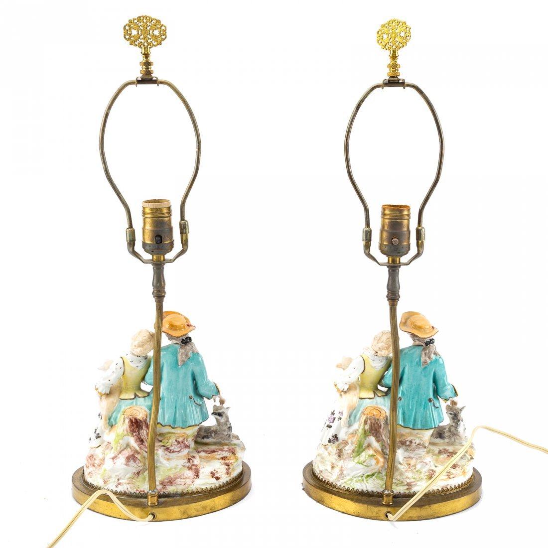 Pair Meissen style porcelain figural lamps - 3