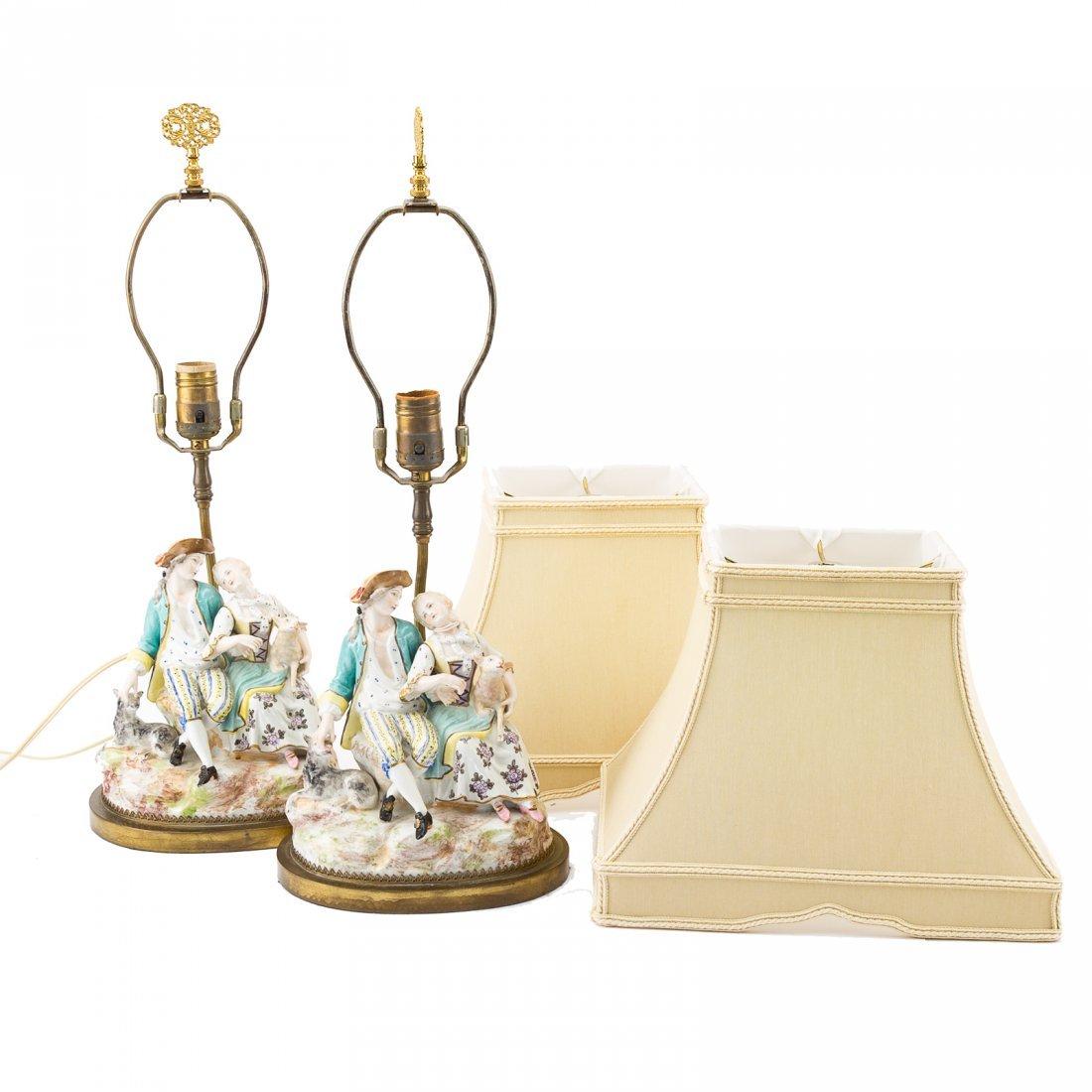 Pair Meissen style porcelain figural lamps - 4