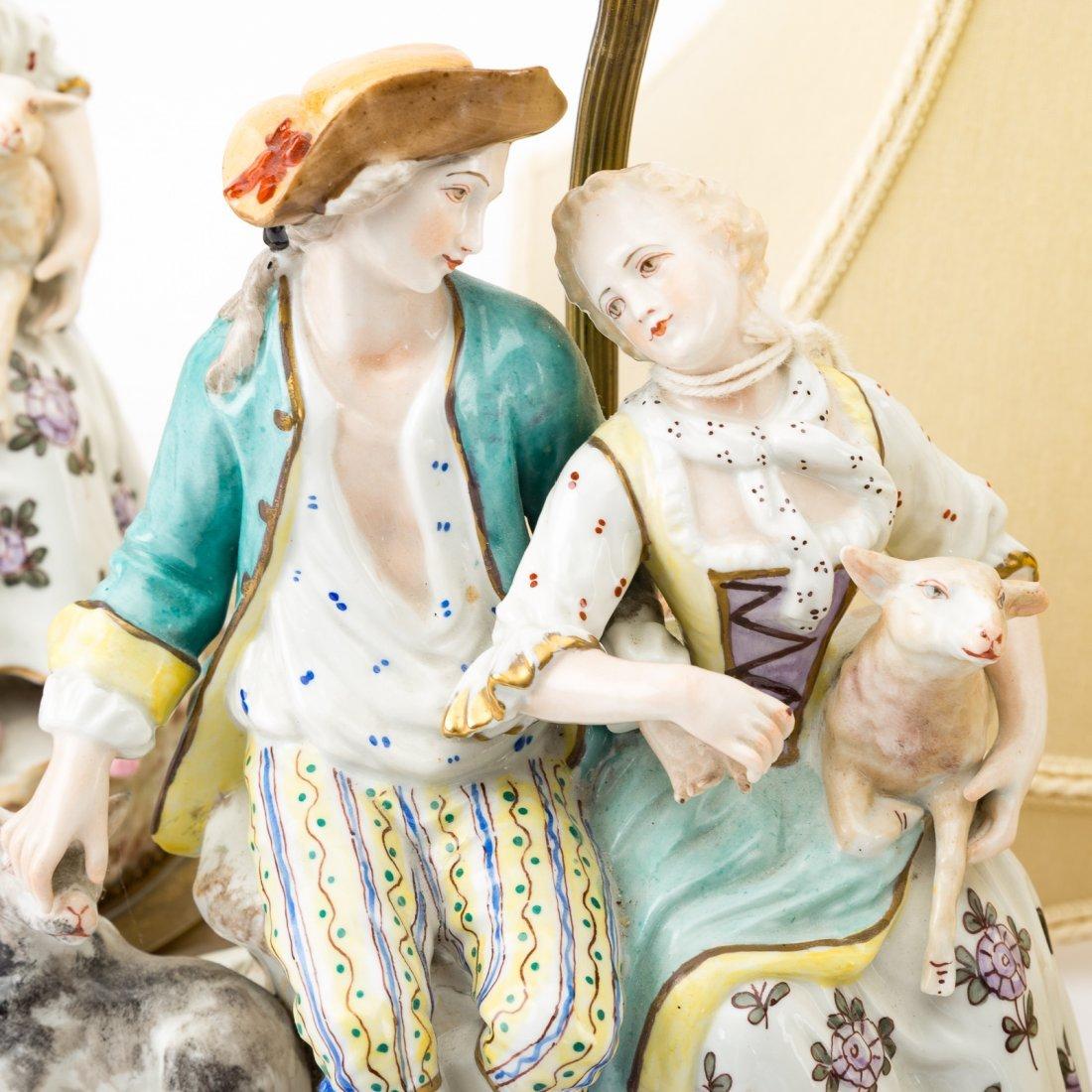 Pair Meissen style porcelain figural lamps - 5