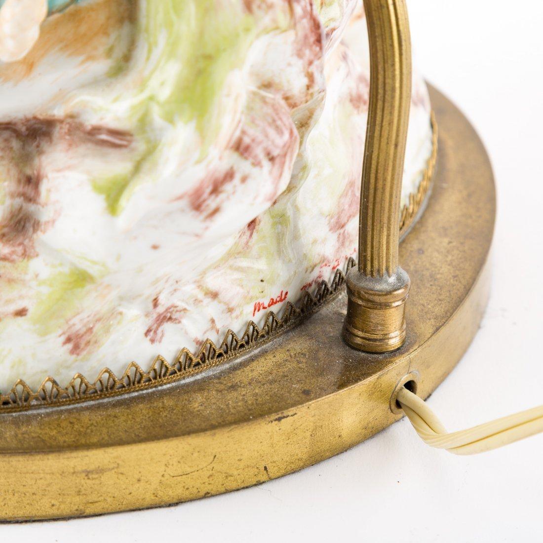 Pair Meissen style porcelain figural lamps - 6