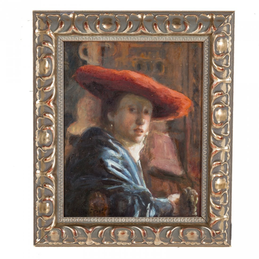 After Jan Vermeer. Girl with the Red Hat, oil