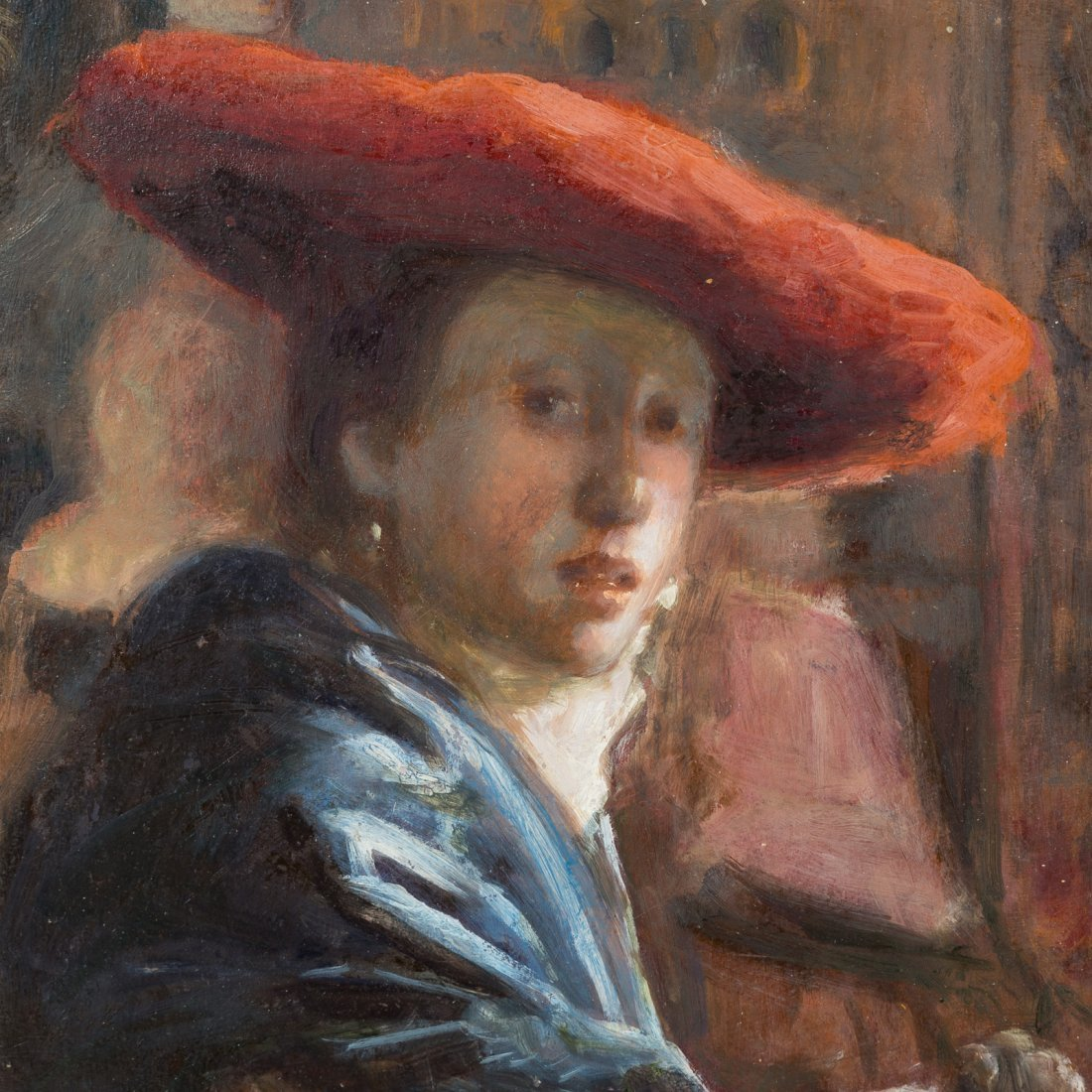 After Jan Vermeer. Girl with the Red Hat, oil - 2