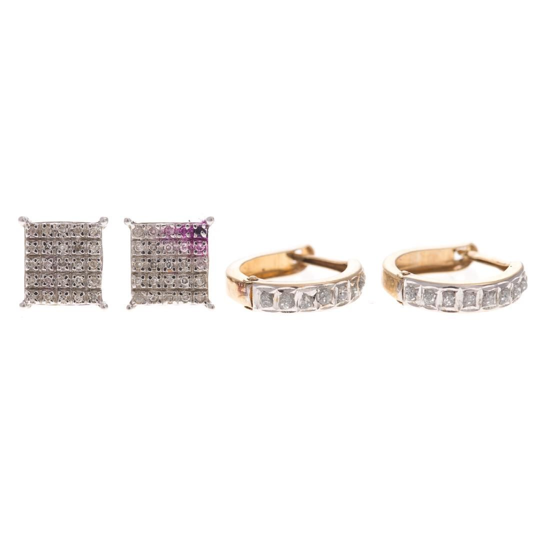 Two Pairs of Lady's Diamond Earrings in Gold