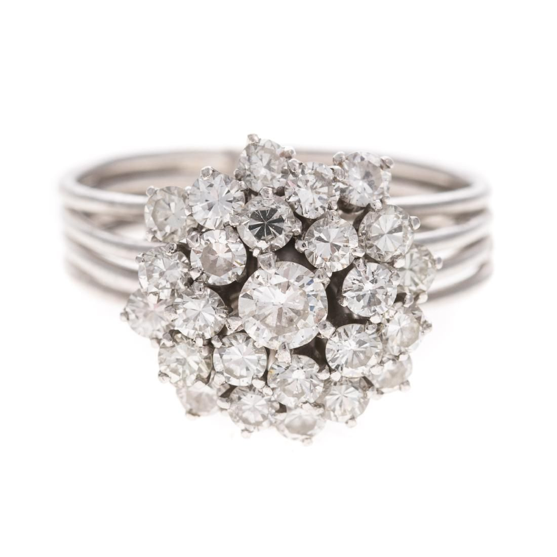 A Lady's Vintage Diamond Cocktail Ring in Platinum