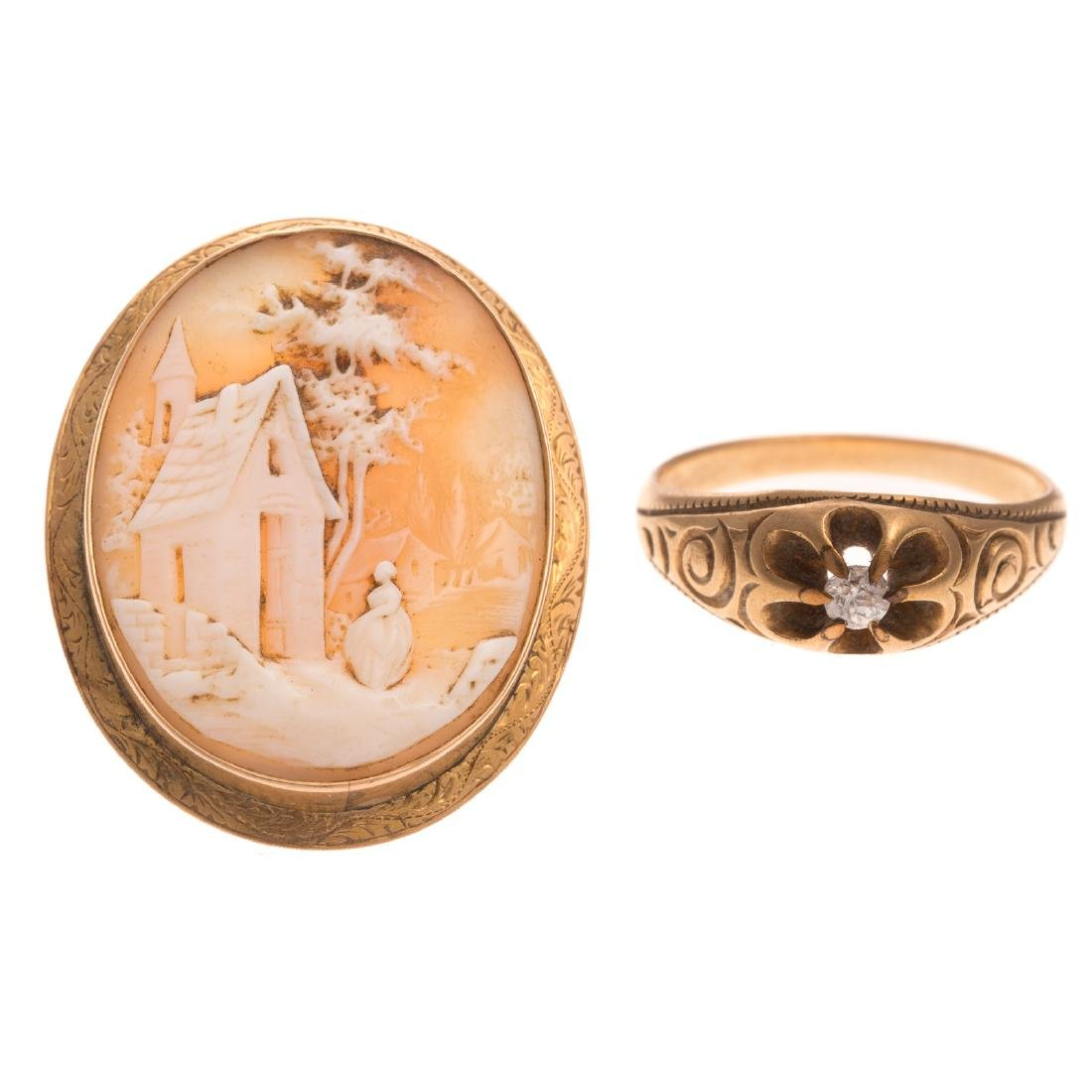 A Victorian Diamond Ring & Cameo in 14K