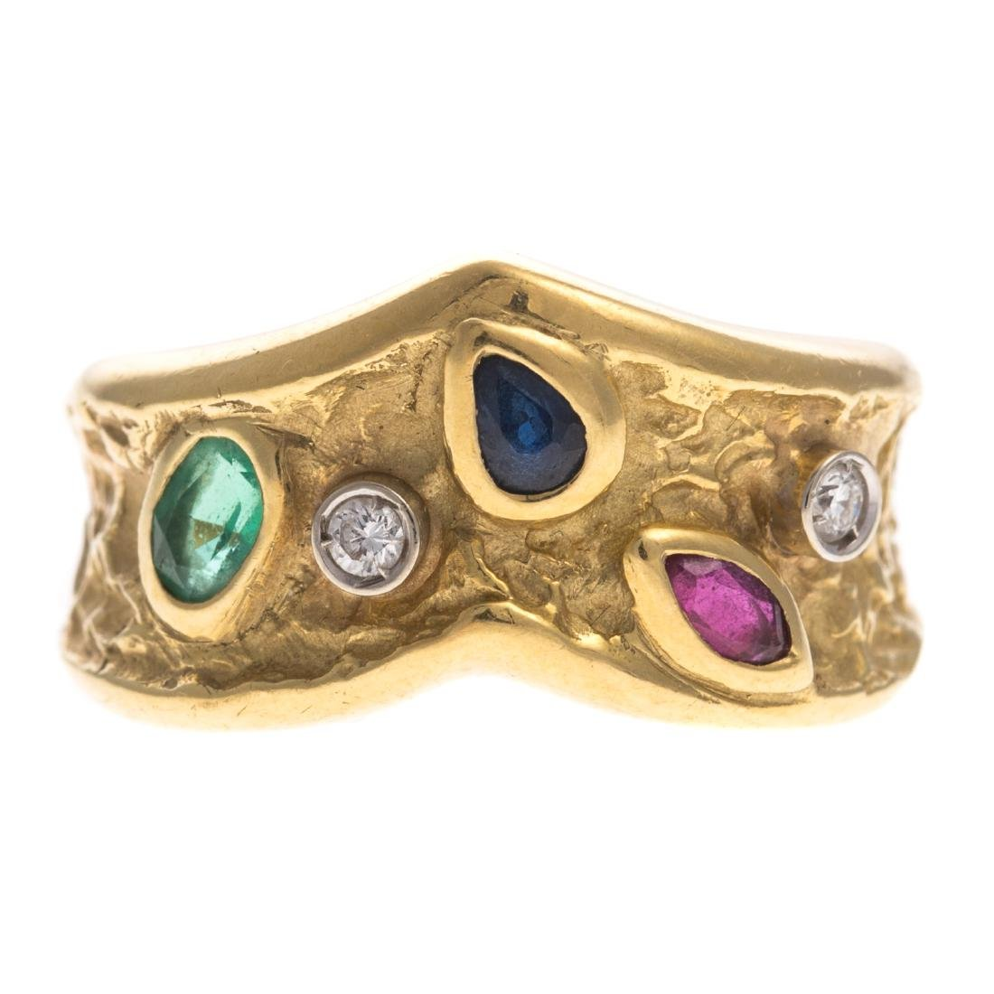 A Ruby, Sapphire, Emerald & Diamond Ring in 18K