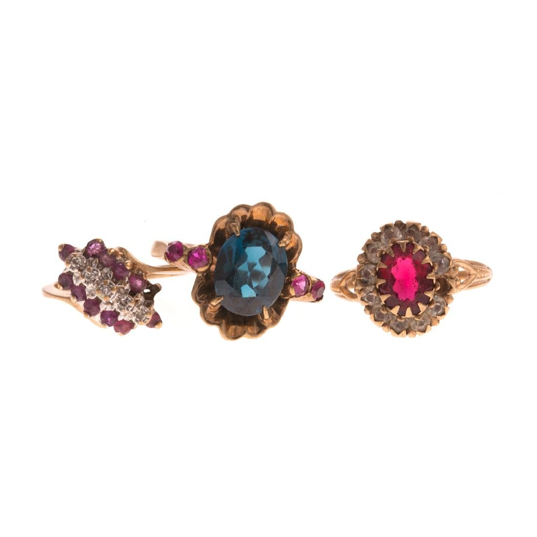 A Trio of Lady's Rings in 10K Yellow Gold