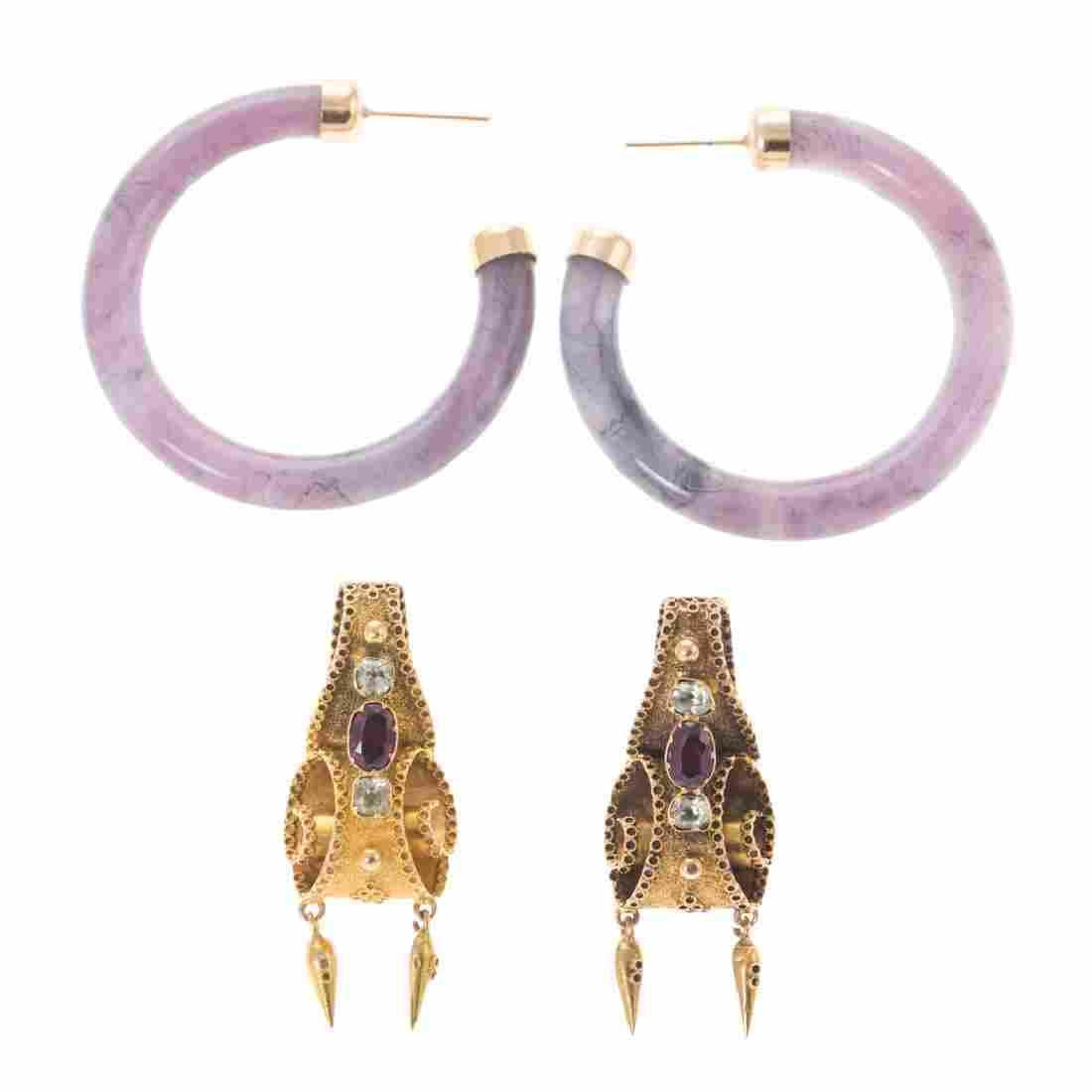 Two Pair of Earrings in 14K Gold