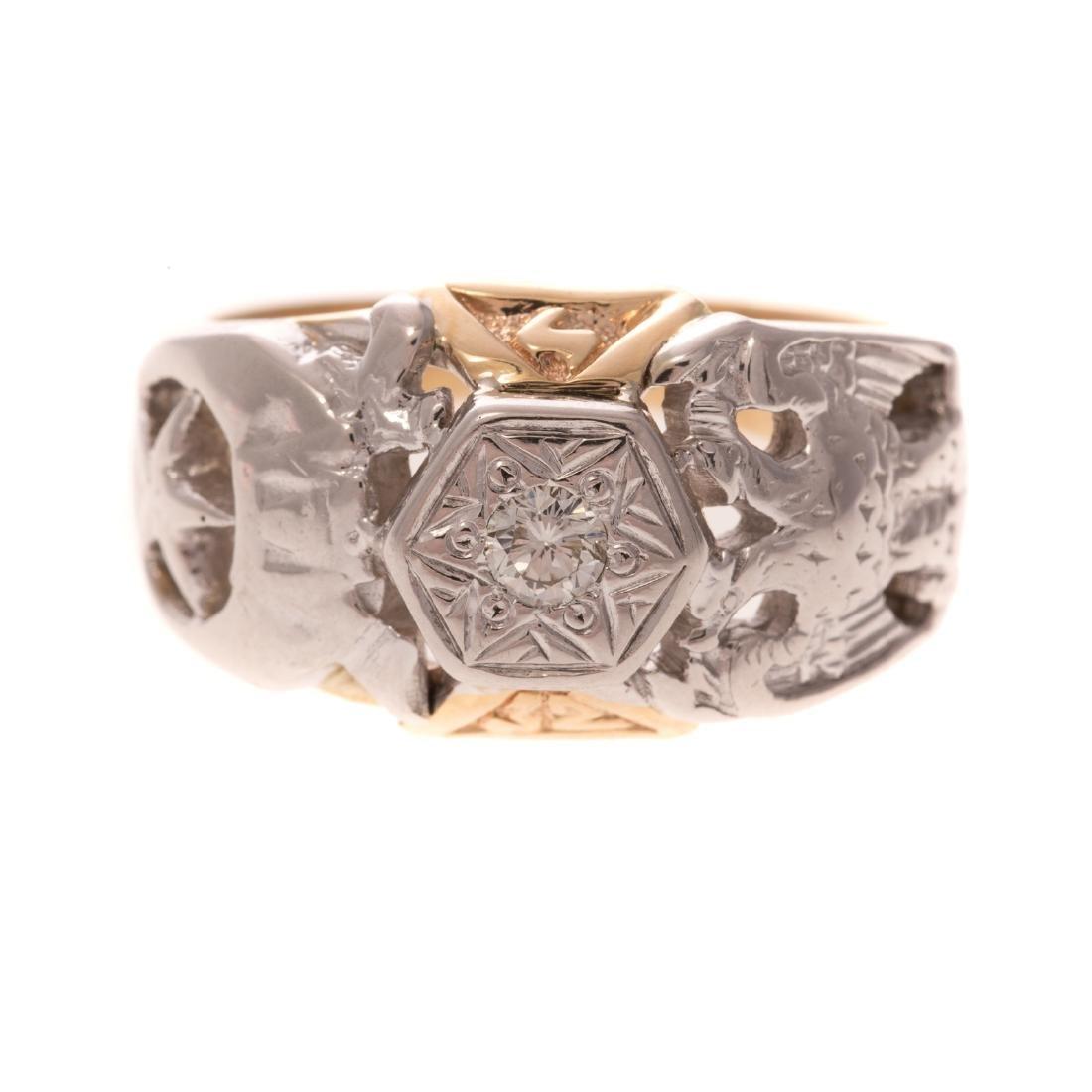 A Gentleman's Masonic Diamond Ring in 10K Gold