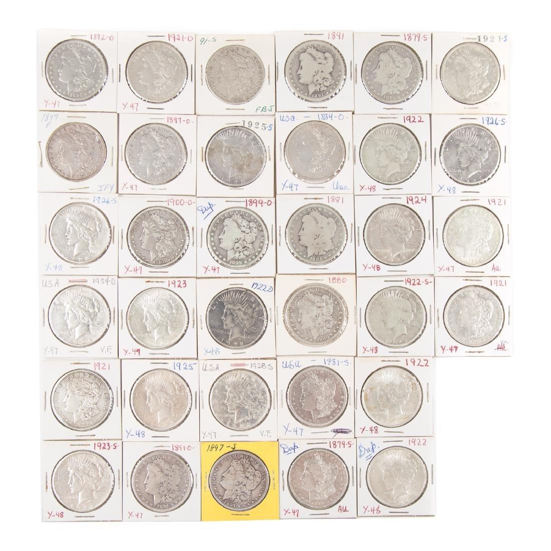 [US] 33 Morgan and Peace Silver Dollars
