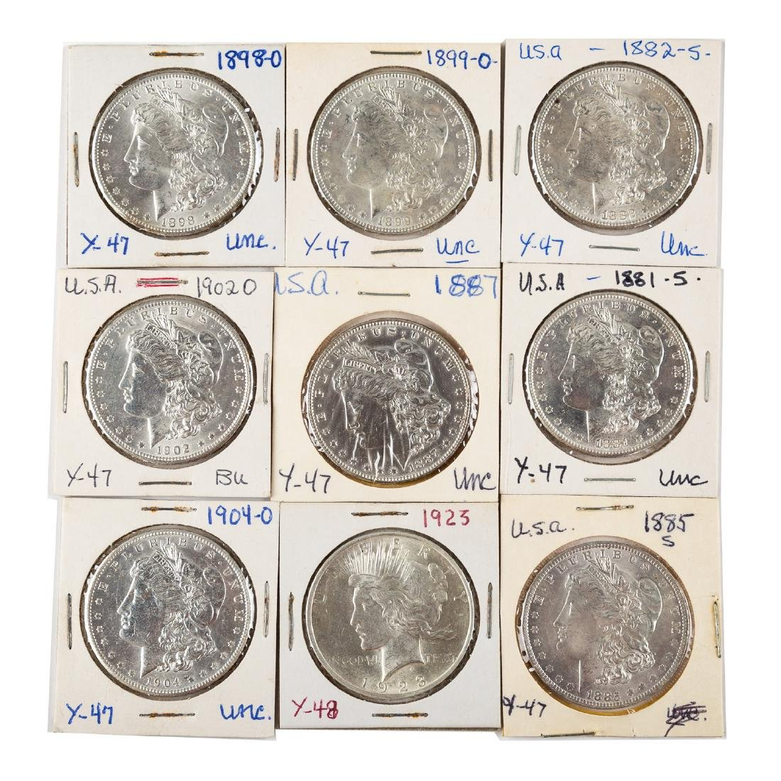 [US] Nine Uncirculated/Better Silver Dollars