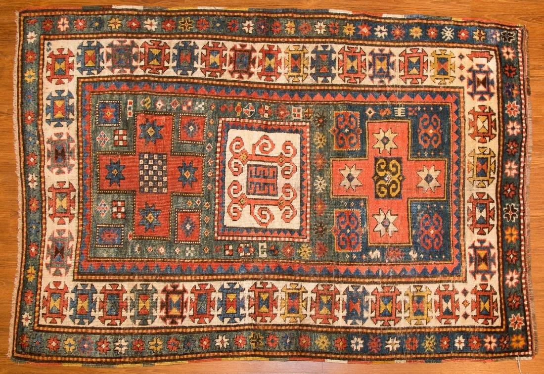 Antique Kazak rug, approx. 3.9 x 5.4