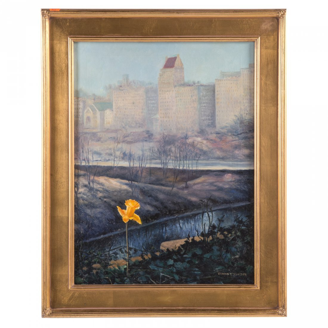 Edmund T. Totten. Daffodil by the East River, oil