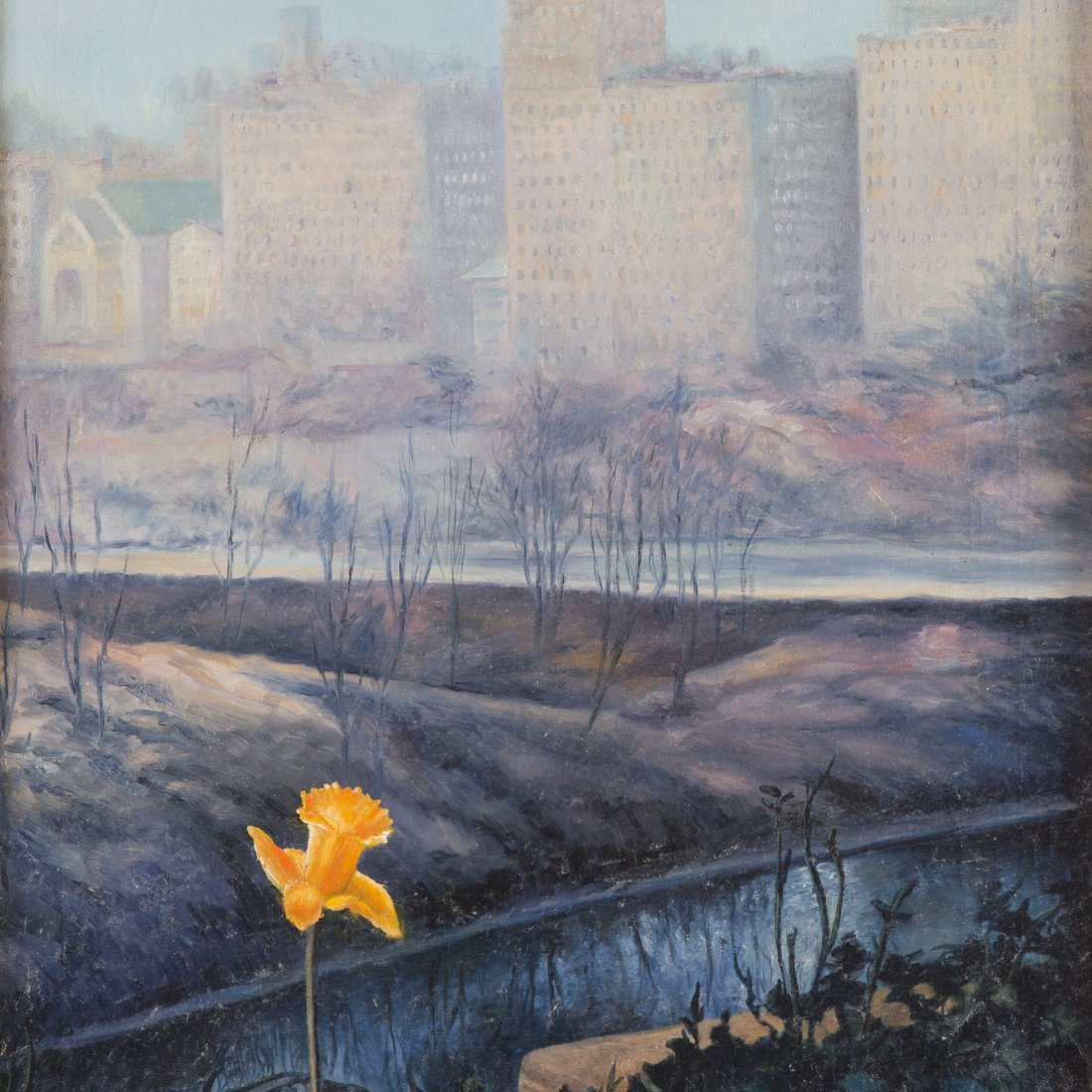 Edmund T. Totten. Daffodil by the East River, oil - 2