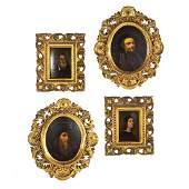 Continental School, 19th c. Four artists portraits