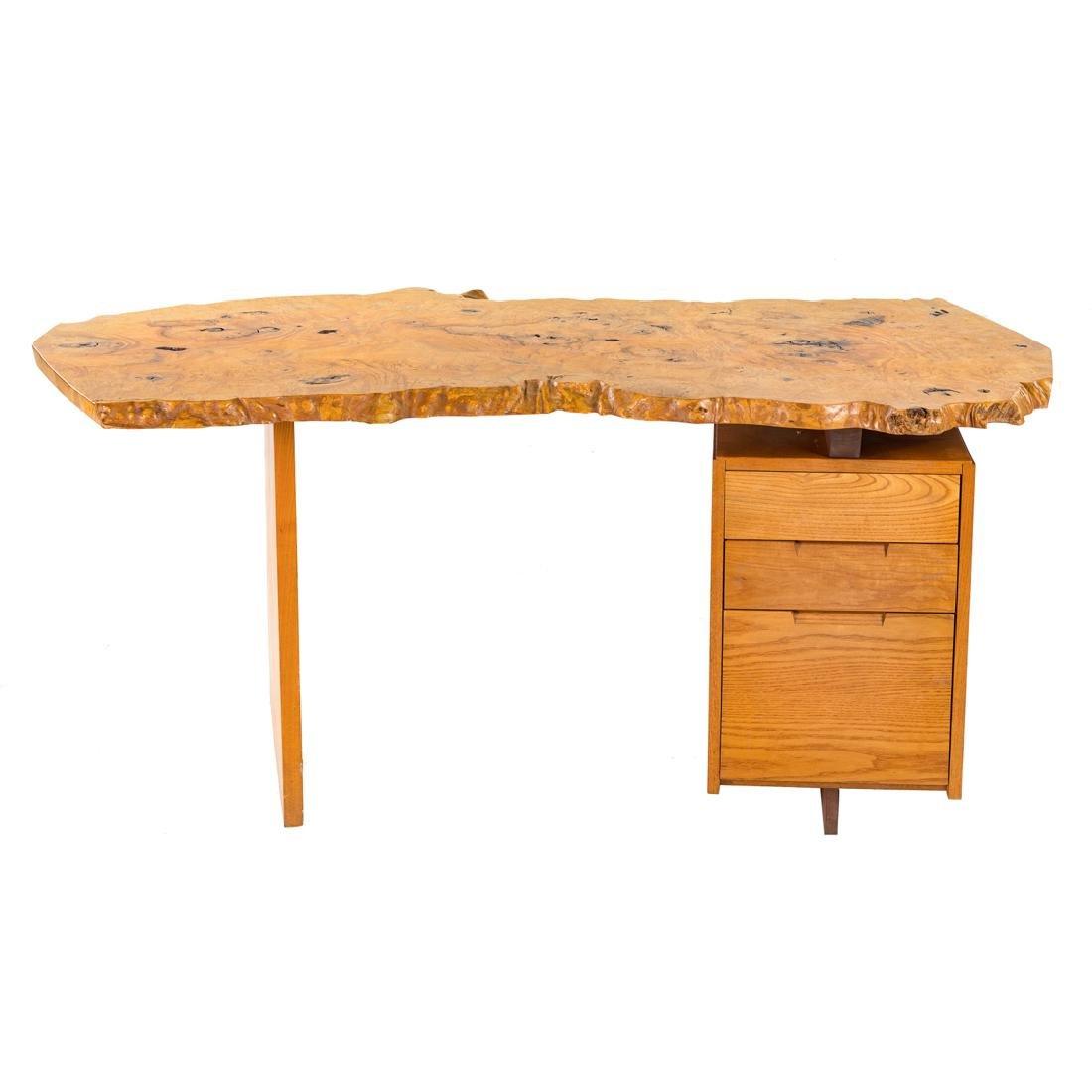 George Nakashima Custom Slab Top Pedestal Desk