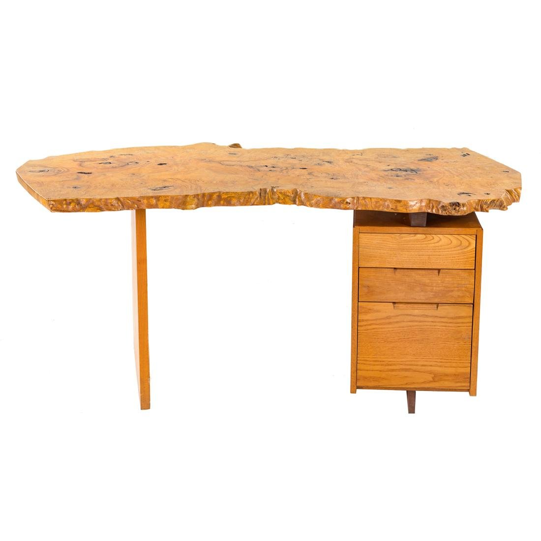 George Nakashima Custom Slab Top Pedestal Desk