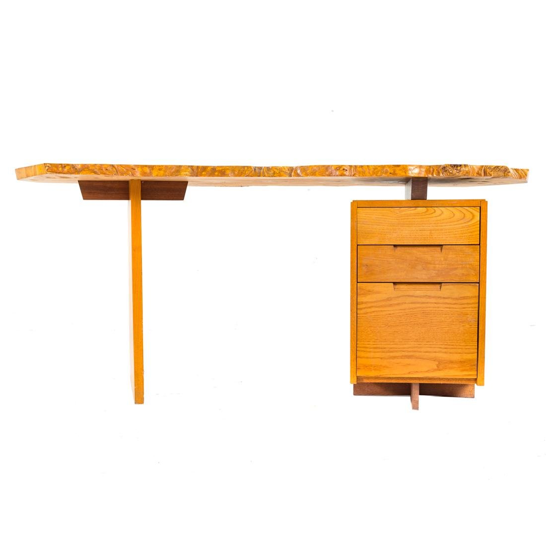 George Nakashima Custom Slab Top Pedestal Desk - 2
