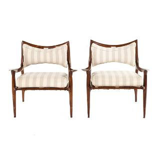 Pair of Phillip Lloyd Powell Walnut Lounge Chairs