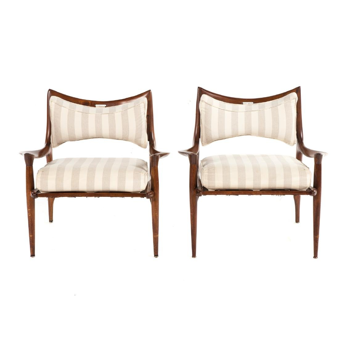 Pair of Phillip Lloyd Powell Walnut Lounge Chairs