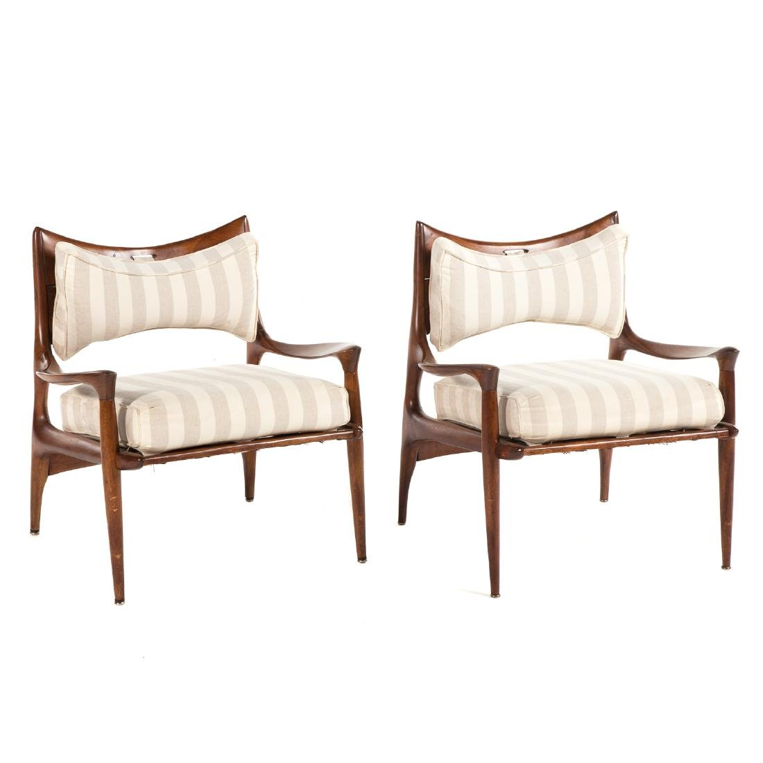Pair of Phillip Lloyd Powell Walnut Lounge Chairs - 2