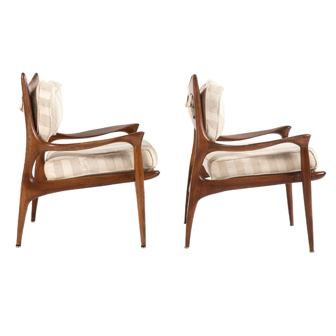 Pair of Phillip Lloyd Powell Walnut Lounge Chairs - 3