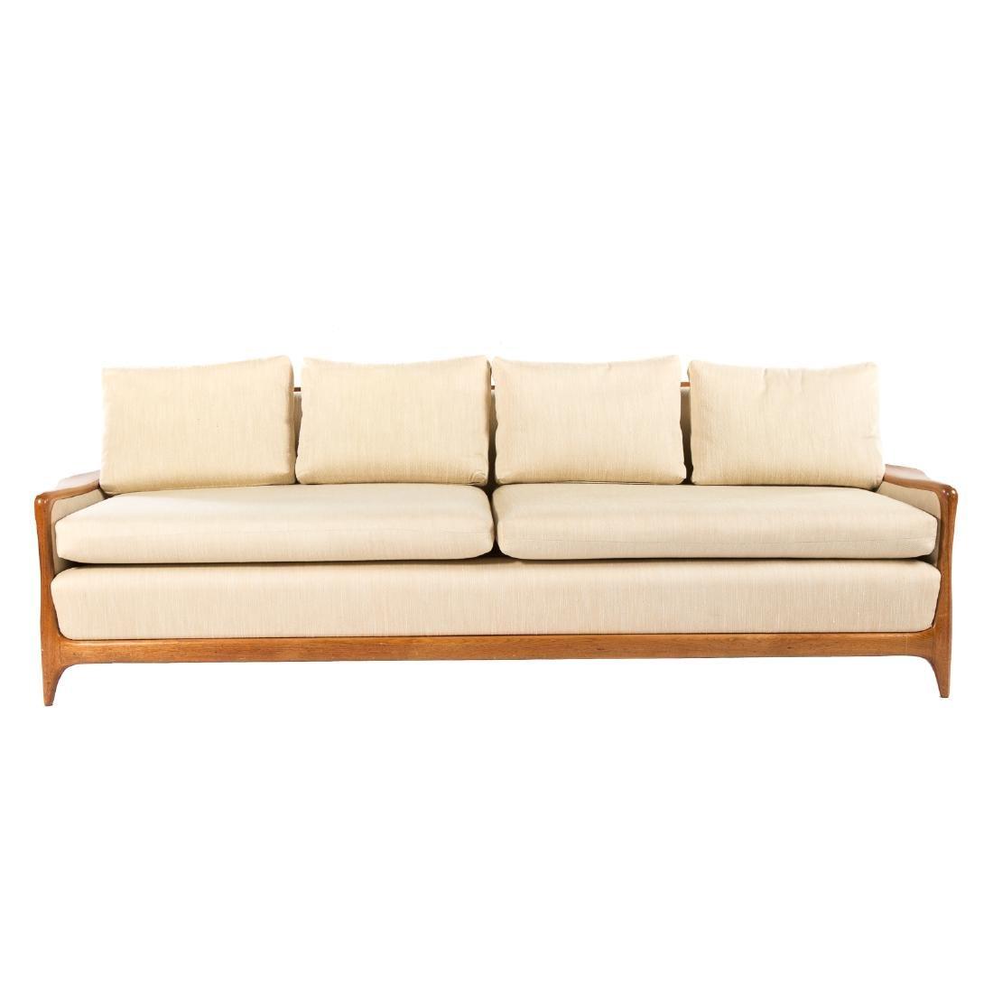 Vladimir Kagan - Dreyfuss walnut upholstered sofa