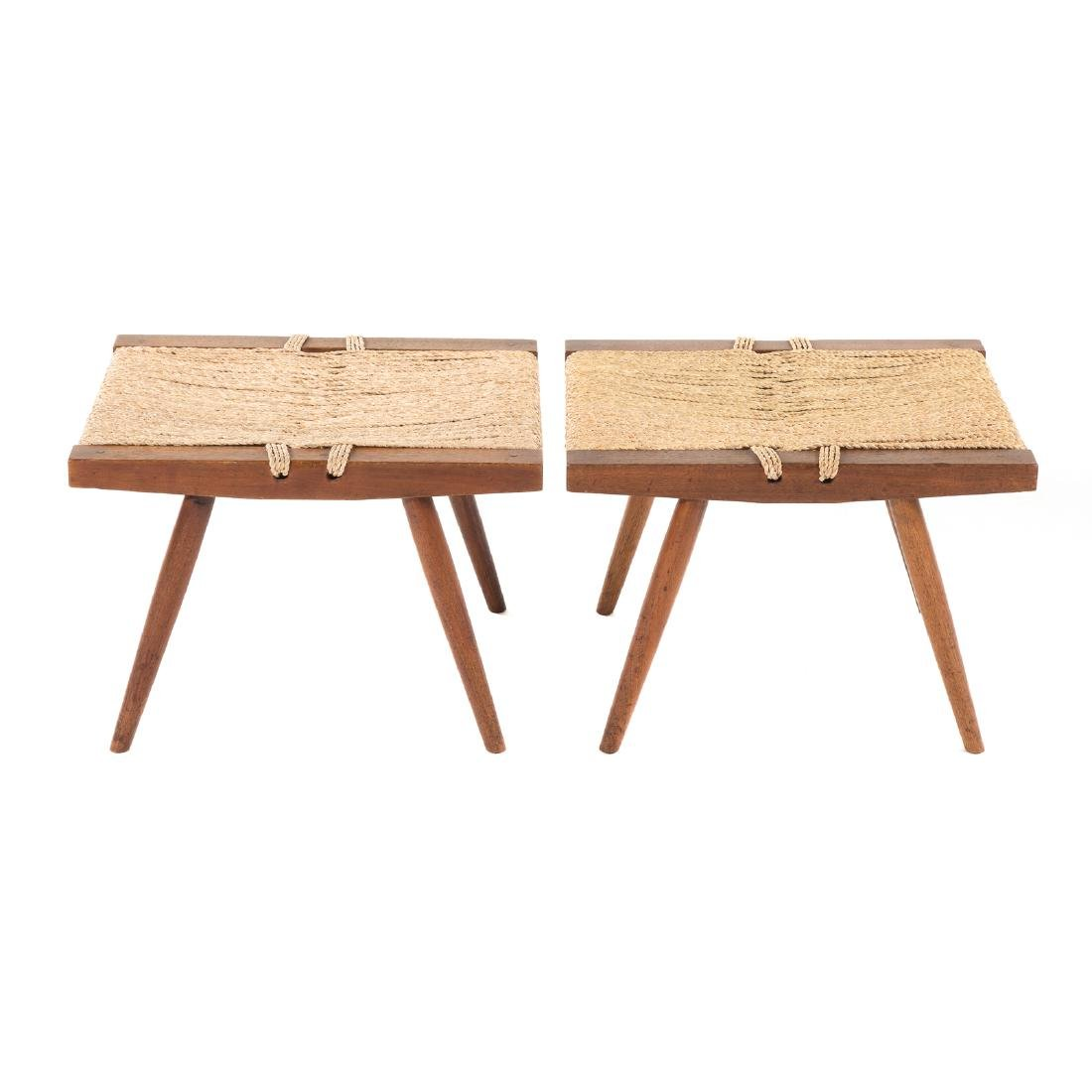 Pair of George Nakashima Grass Seated Stools