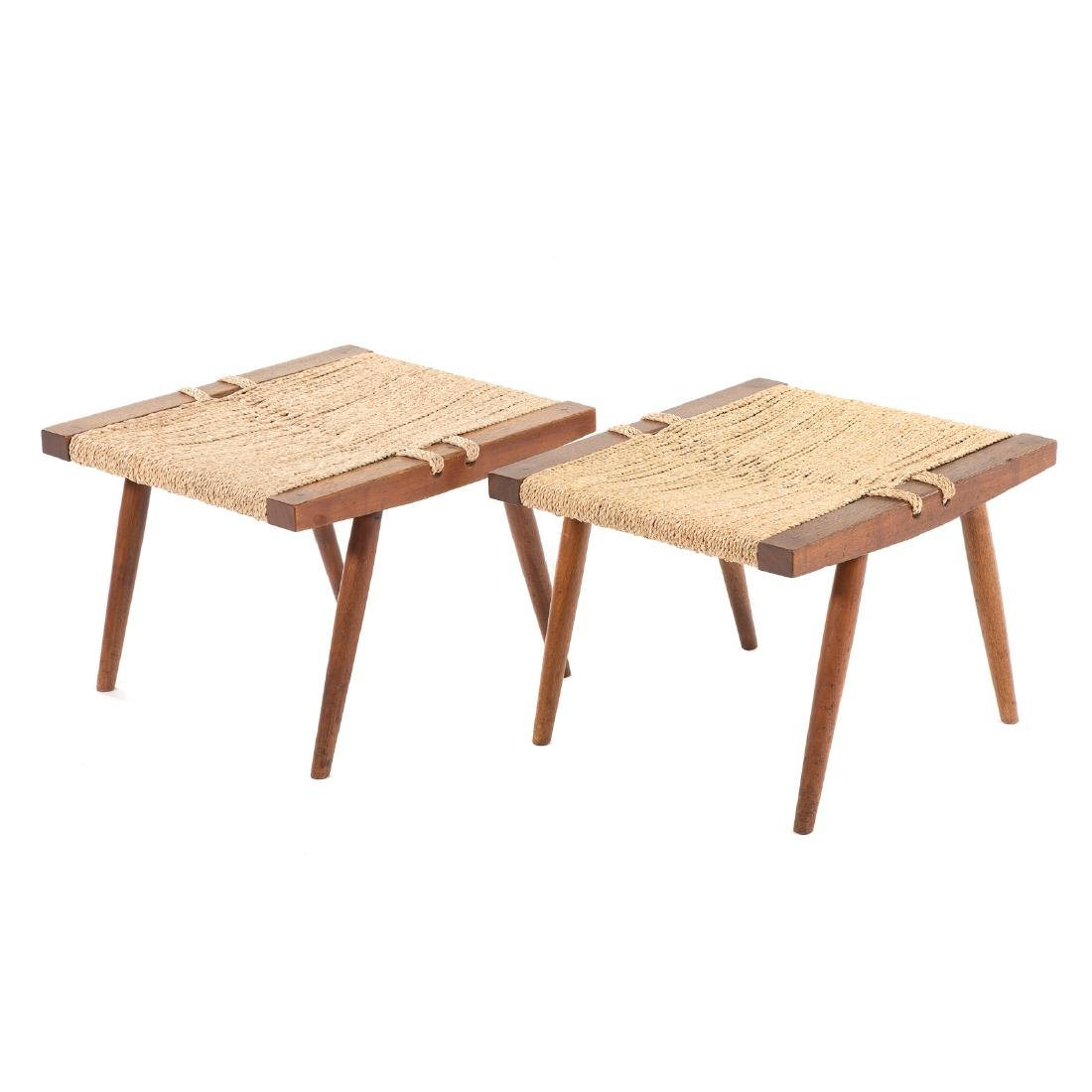 Pair of George Nakashima Grass Seated Stools - 2