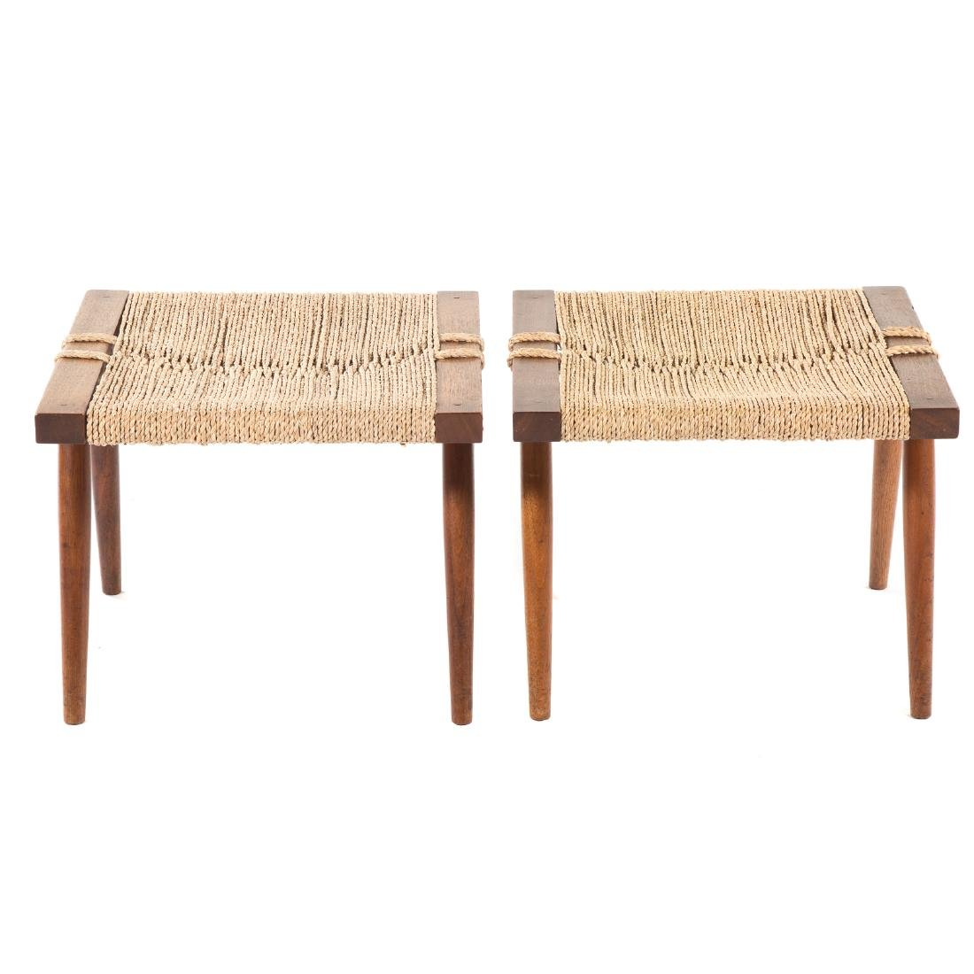 Pair of George Nakashima Grass Seated Stools - 3