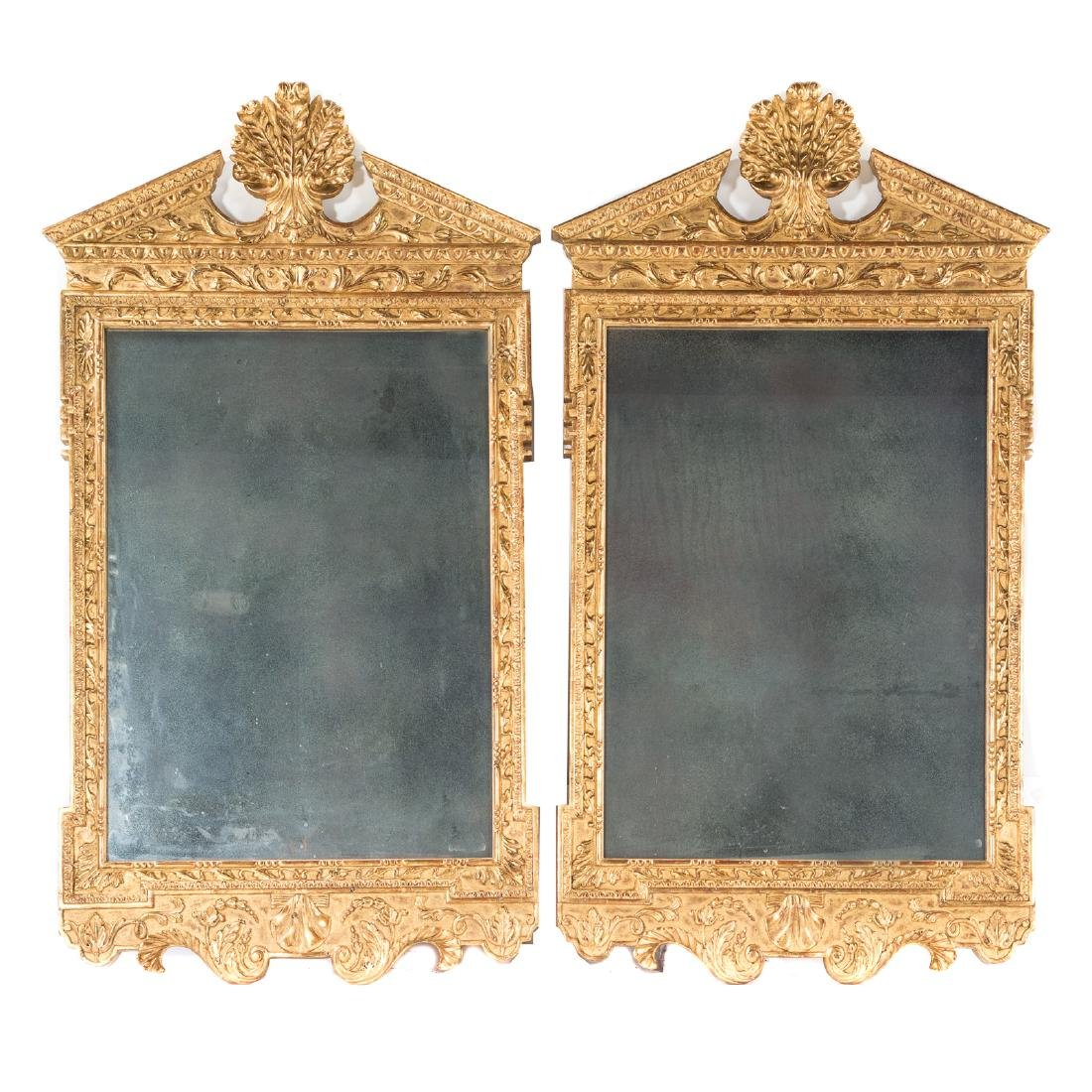 Pair George III style gilt wood mirrors