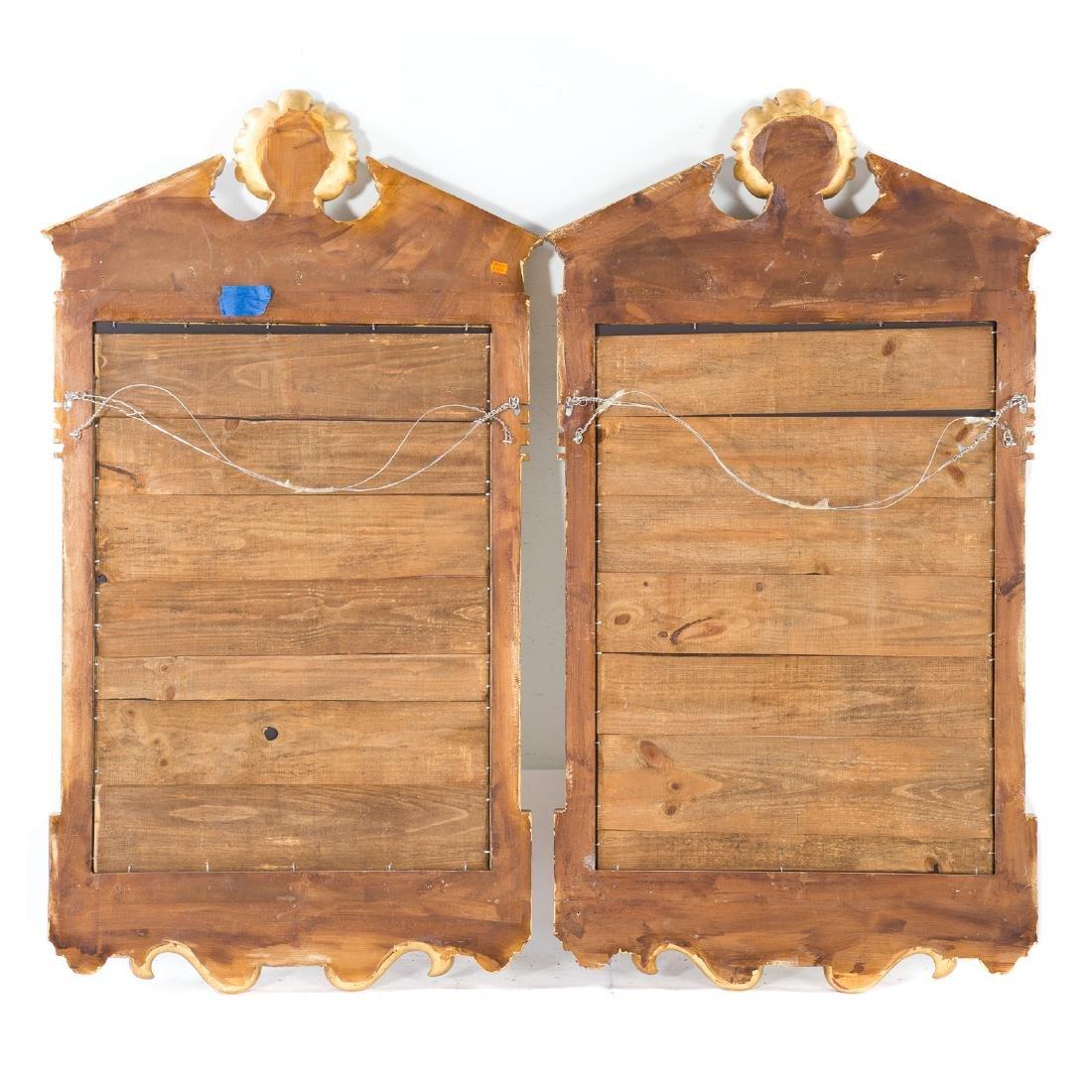 Pair George III style gilt wood mirrors - 4