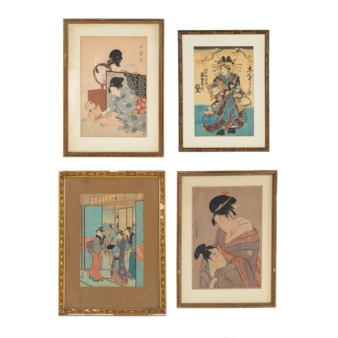 Four Japanese color woodblock prints