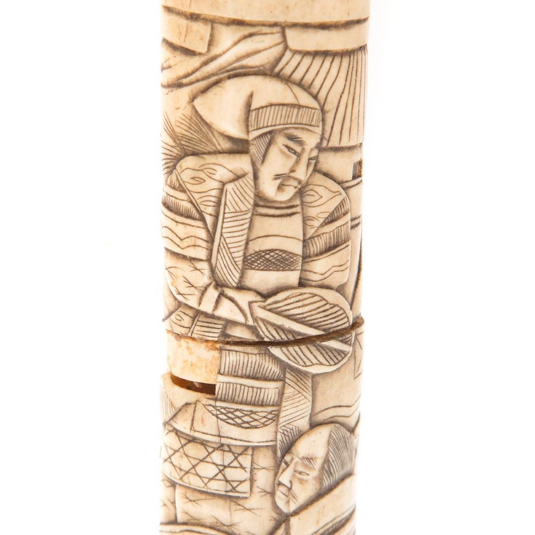 Japanese carved ox bone sword - 4
