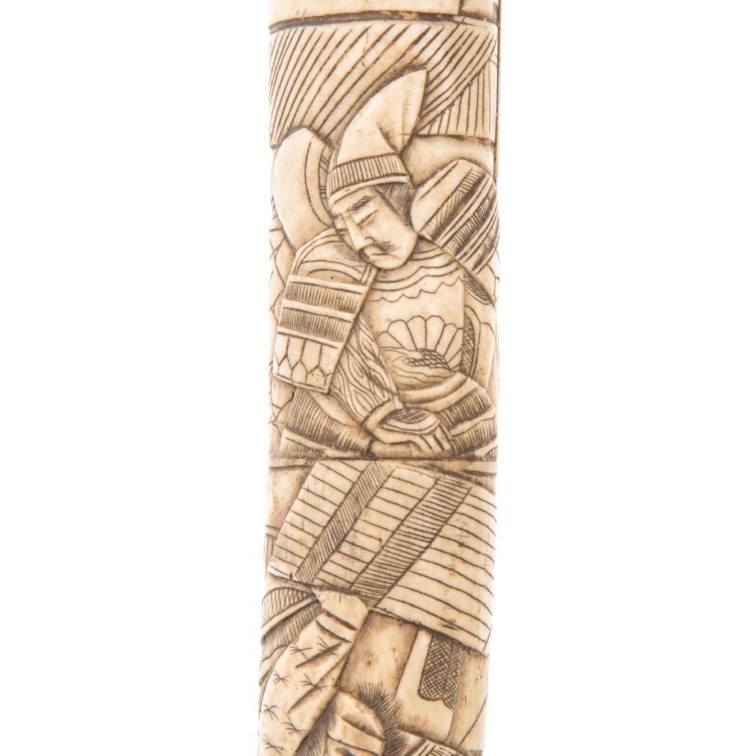 Japanese carved ox bone sword - 6