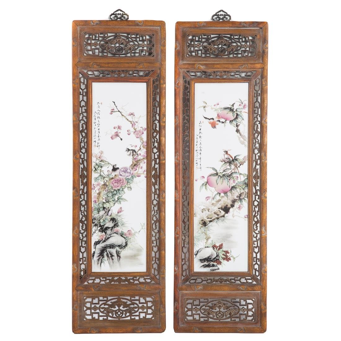 Pair Chinese painted porcelain plaques