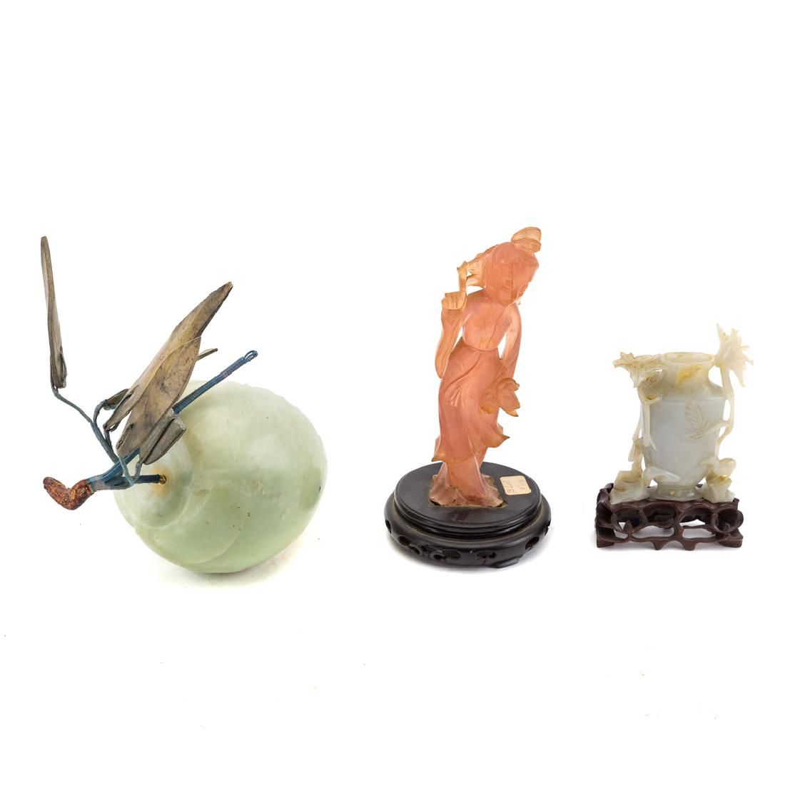 Three Chinese carved jade and hardstone articles