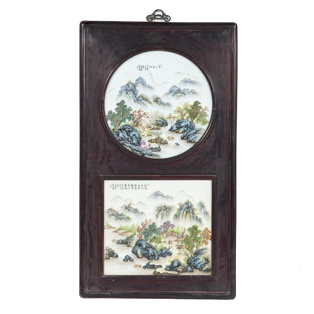 Two Chinese painted porcelain plaques