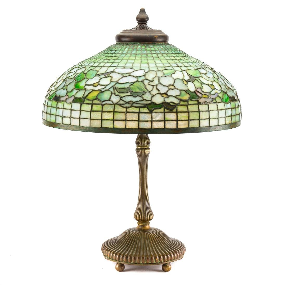 Tiffany leaded glass and bronze table lamp