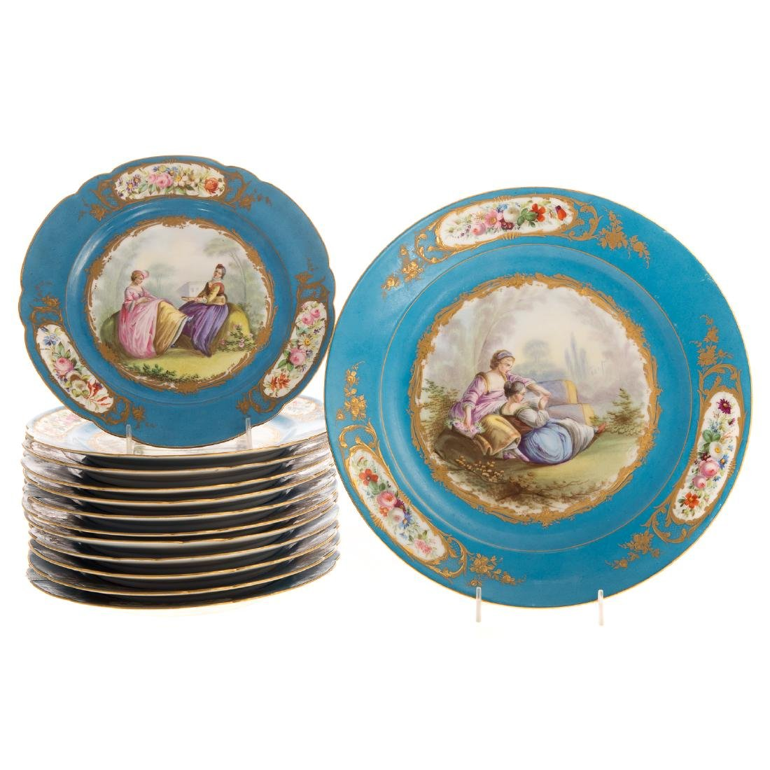 12 Sevres porcelain plates and charger