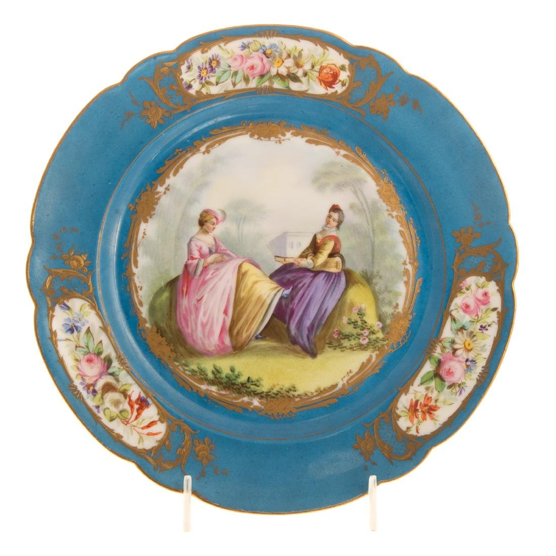 12 Sevres porcelain plates and charger - 2