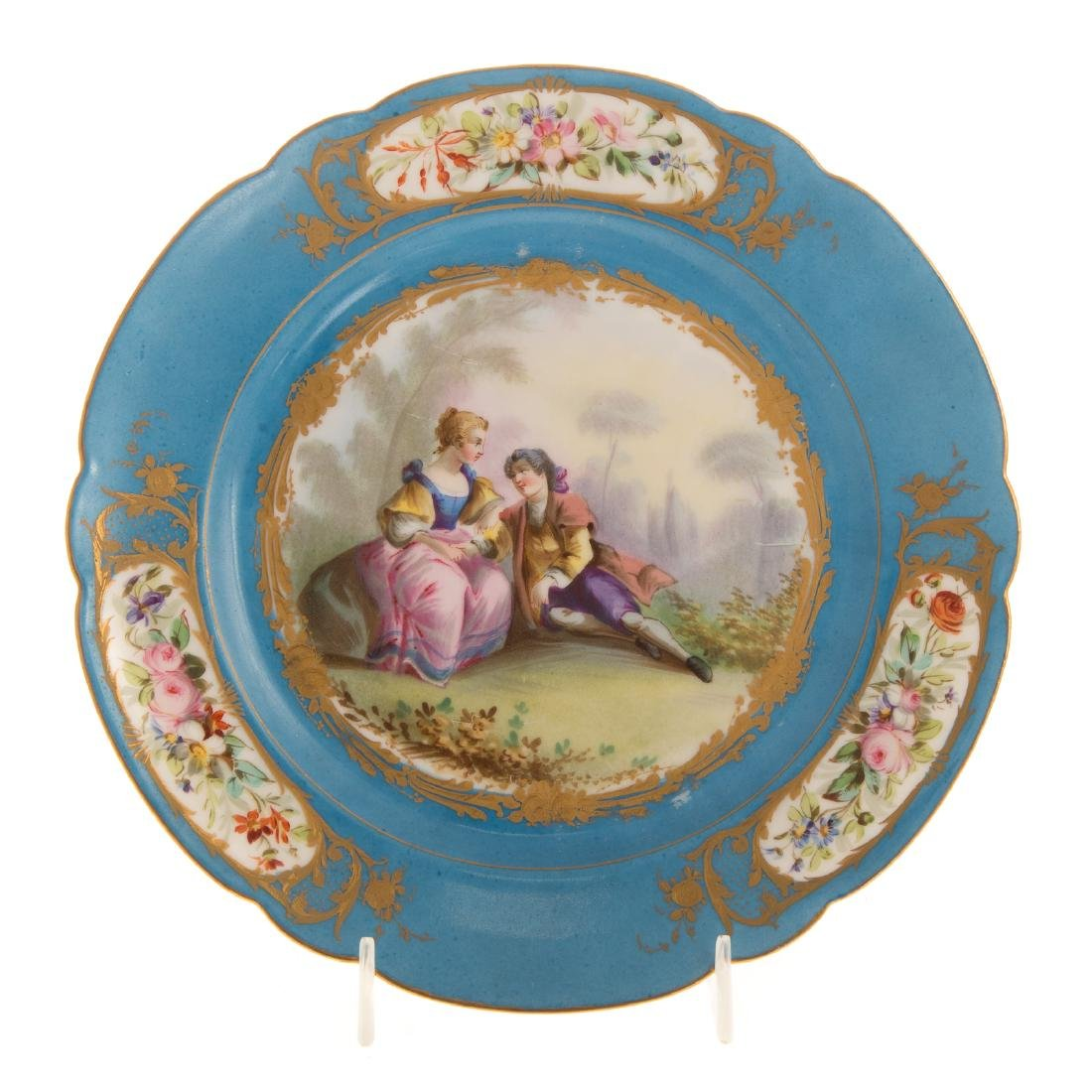12 Sevres porcelain plates and charger - 3