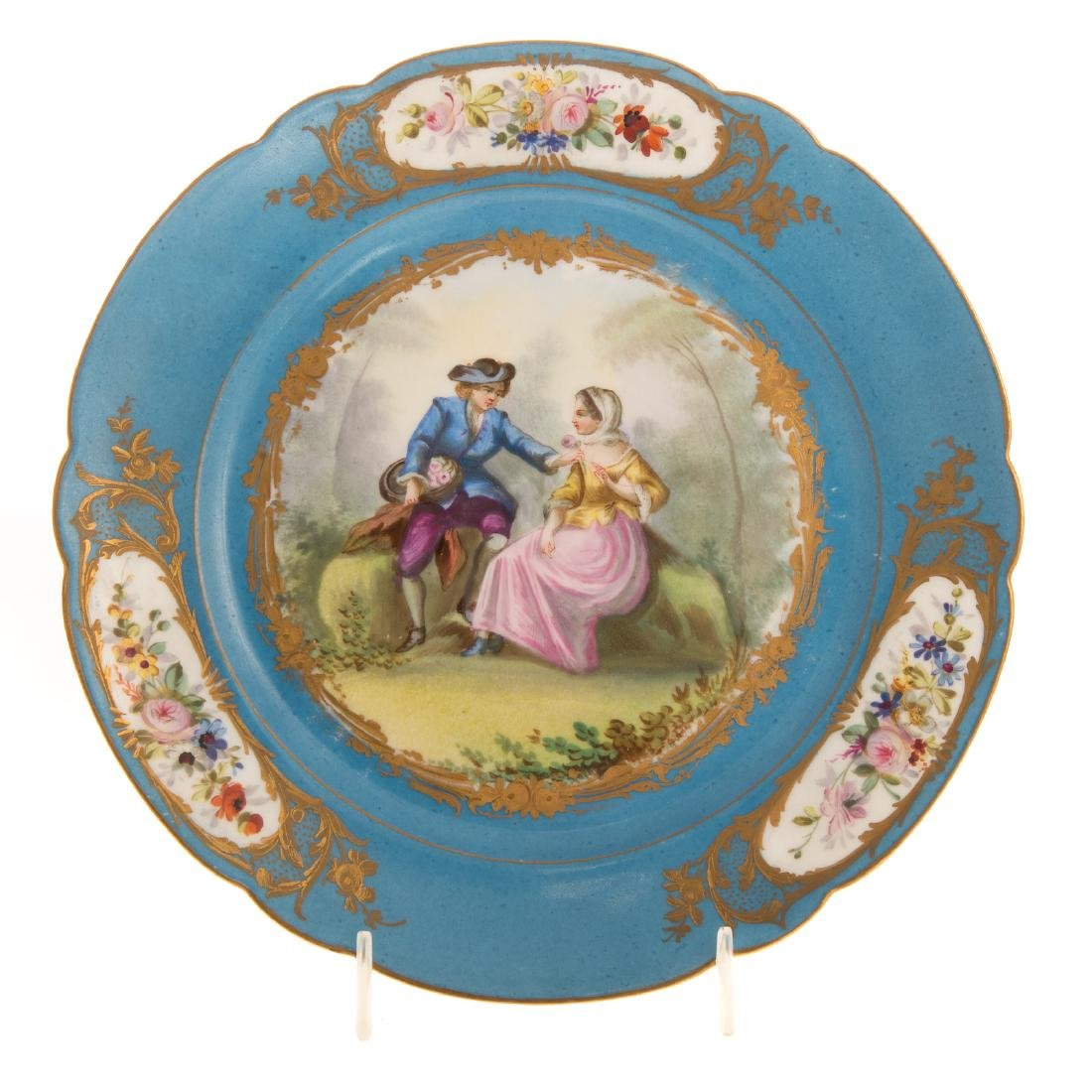 12 Sevres porcelain plates and charger - 4