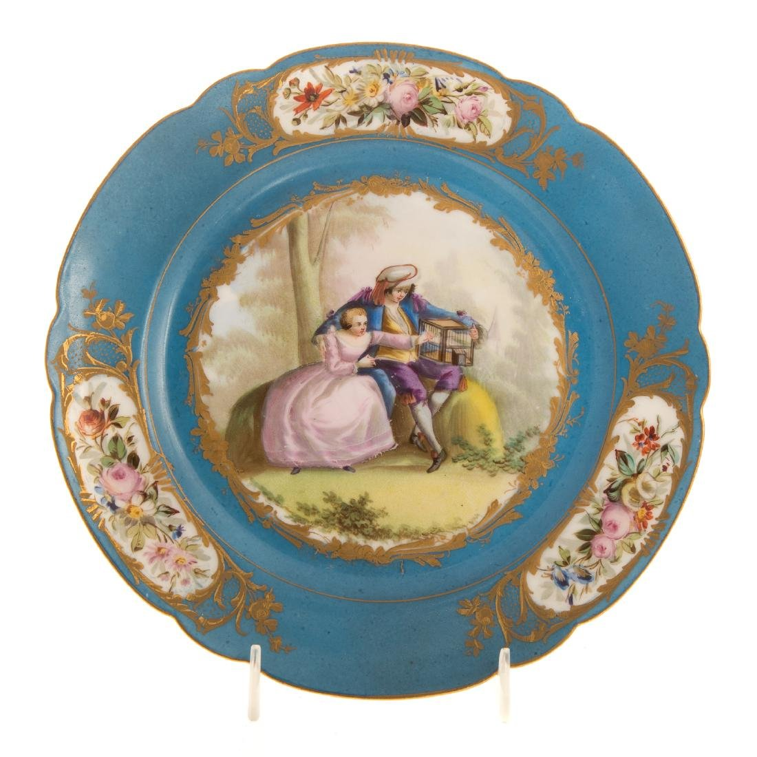 12 Sevres porcelain plates and charger - 5