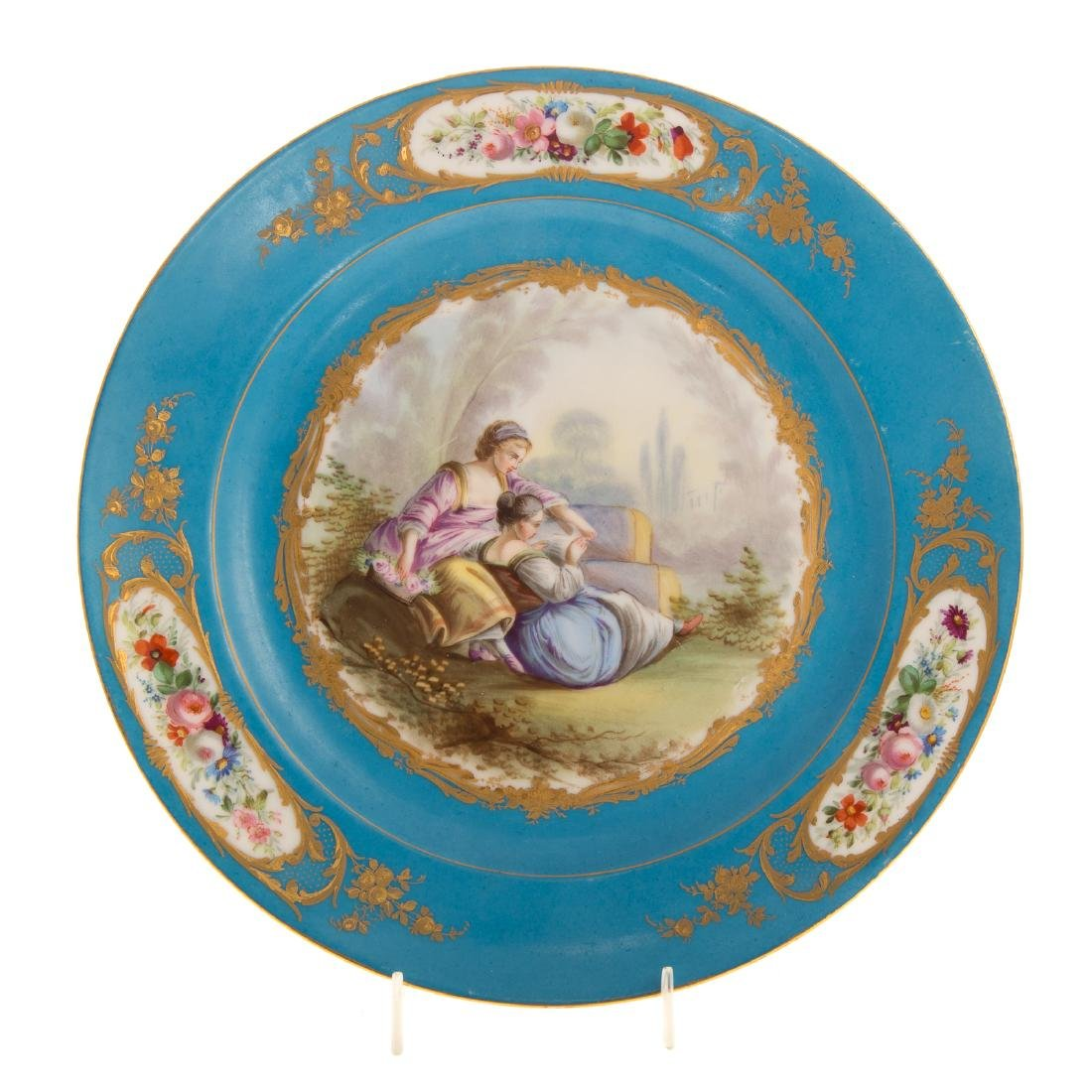 12 Sevres porcelain plates and charger - 6