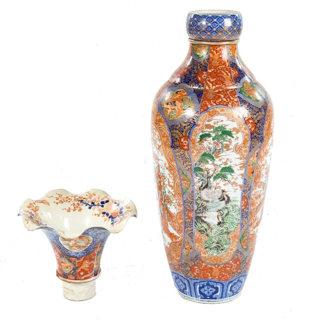 Japanese Imari porcelain monumental palace vase - 6