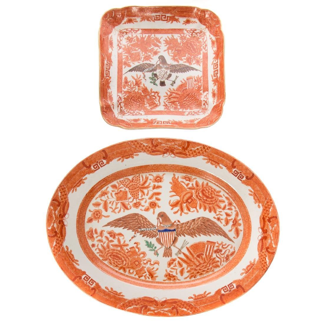Two Chinese Export style orange Fitzhugh articles