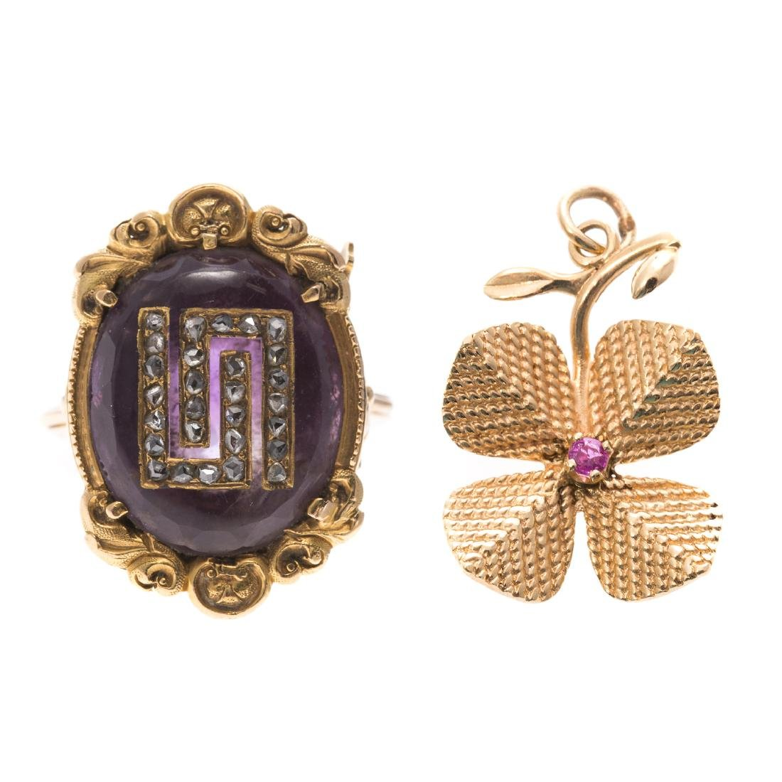 A Lady's Vintage Ring & Flower Charm in 14K